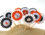 Halloween Cupcake Toppers - Rosette Cupcake Toppers - Set of 12