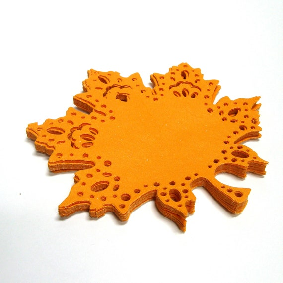 Maple Leaf Doilie Embellishments - Autumn Leaves - Gold