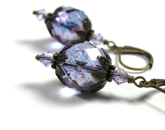Purple, Czech, Swarovski, Vintage Style Earrings
