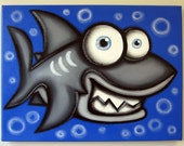 sHARK - 12 x 16 original acrylic painting on canvas for kids rooms, nursery art, fish paintings