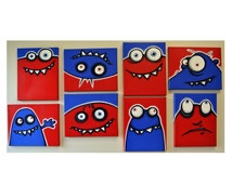 rED and bLuE UgLiEs - set of 8 8x10 original paintings on multiple canvases for kids room or nursery, monster art, monster paintings
