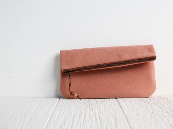 Fold Over Vegan Clutch in Adobe Pink