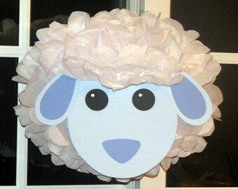 Sheep tissue paper pompom kit Old MacDonald farm party