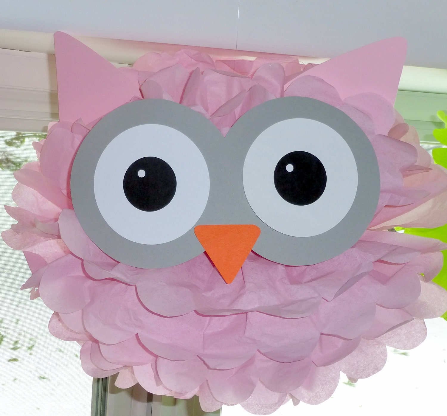 Owl pom pom kit baby shower first birthday party decoration for Baby owl decoration