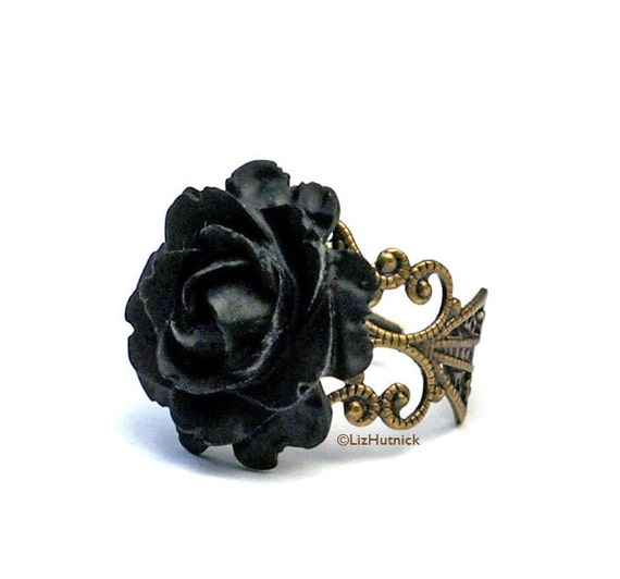 FREE SHIPPING. Black Rose Ring. Victorian Gothic Jewelry. Adjustable Filigree Ring