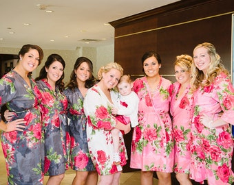 Custom Bridesmaids Kimono Cross-over Robes Wrap Perfect bridesmaids gift, getting ready robes, Bridal shower favors, Wedding photo prop