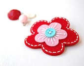 Red and Pink Blossom Hair Clip