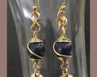 Long lapis Lazuli and solid brass earrings