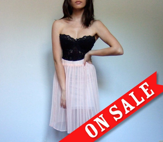 Sheer Pleated Skirt Pale Peach Pastel Fashion 90s Knee Length See Through - Extra Small XS/ S