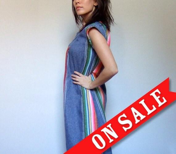 Hippie Dress Sundress Rainbow Mini Beach Cover Up Summer Fashion Blue - Extra Extra Small. Extra Small XXS/ XS