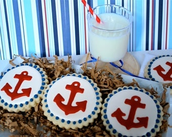 Red Anchor Decorated Sugar Cookies (12)