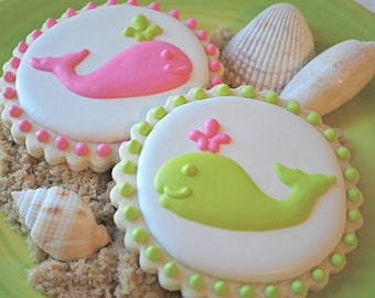 Preppy Pink & Green Whales Decorated Sugar Cookies (12)