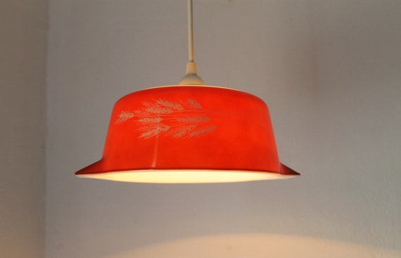 Autumn Harvest - Brick Red Milk Glass Mixing Casserole Bowl Hanging PYREX Pendant Lighting Fixture - OOAK UpCycled BootsNGus Lamps