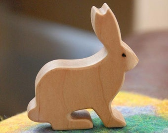 Carved Wooden RABBIT Bunny Jackrabbit, Handmade Toy Animal,  Waldorf Inspired