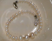 """9"""" freshwater pearl sterling silver clasp bracelet with 1"""" sterling chain extension.  ooak, louisiana  42pfssb"""
