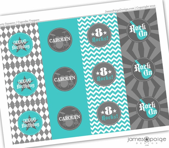 Rock Star Birthday Party Squares - Print at Home