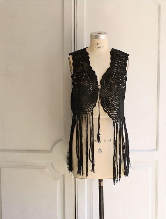 black lacy crochet fringe gypsy vest