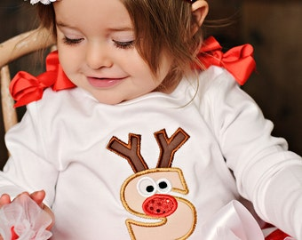RUDOLPH the SPARKLE Red Nose REINDEER  Personalized Intiial Onesie Shirt
