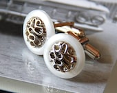 1 pair of White Plastic Pearl with Silver Filigree Cuff Links for Best Man and Groomsmen . Sea shell . Beach Weddings