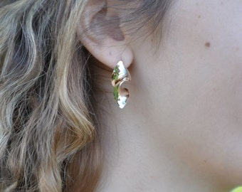 Hand-Hammered Anticlastic Post Earrings in 14k Yellow Gold , Handmade in Maine