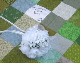 Wedding quilt, guest book signature quilt, 81 X 81--made to order
