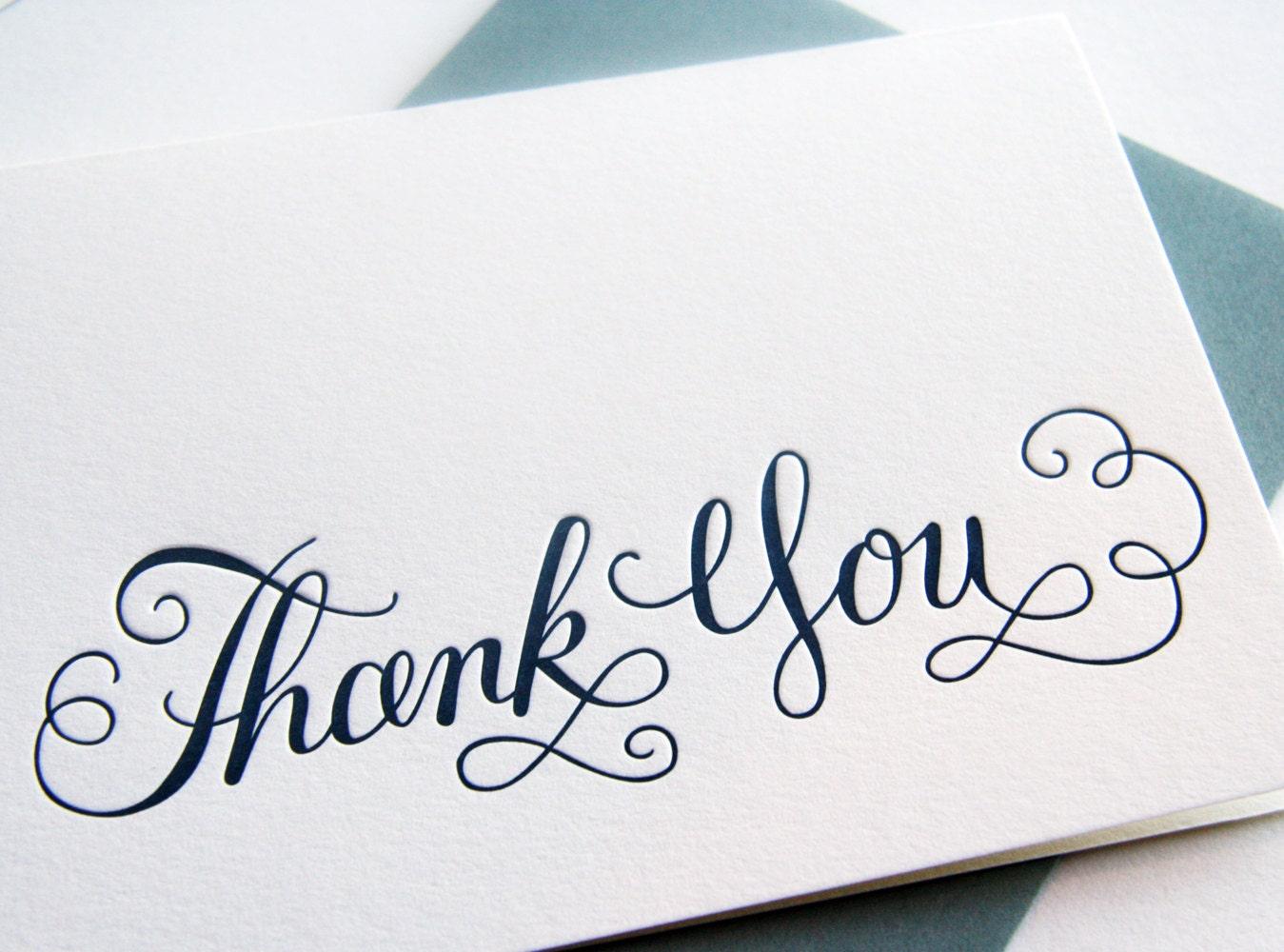 Letterpress Thank You Card Calligraphy By Steelpetalpress On Etsy