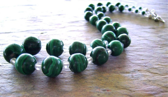 25% Off September Sale Malachite Bead Necklace with Frosted Quartz Beads - Graduated Cool