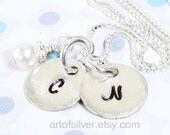 Handstamped jewelry - Personalized initials necklace - Women charm necklace
