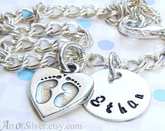 Personalized bracelet - handstamped mother bracelet - name bracelet with baby feet