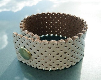 Leather Cuff, White Leather Cuff Mesh Wristband Bracelet - FREE SHIPPING (G2P249, G2P741)