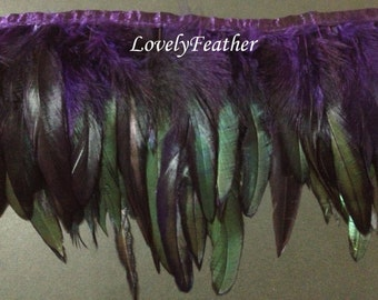 Coque feather fringe of dark purple irridescent 2 yards trim