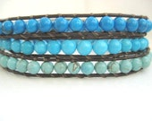 Ombre Triple Wrap Brown Leather Chan Luu Bracelet Shades of Turquoise