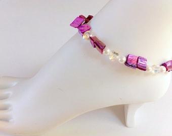 Beachy ankle bracelet swarovski elements crystal heart  purple shells anklet summer foot jewelry beach sparkly