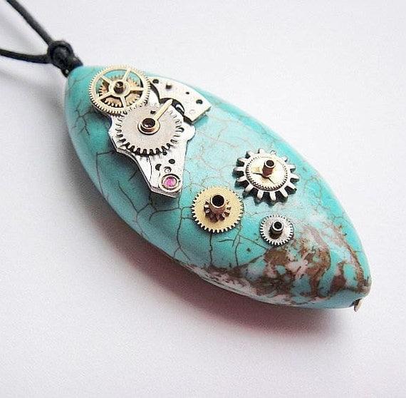 Micro-Mechanical Turquoise Post Apocalyptic Jewelry