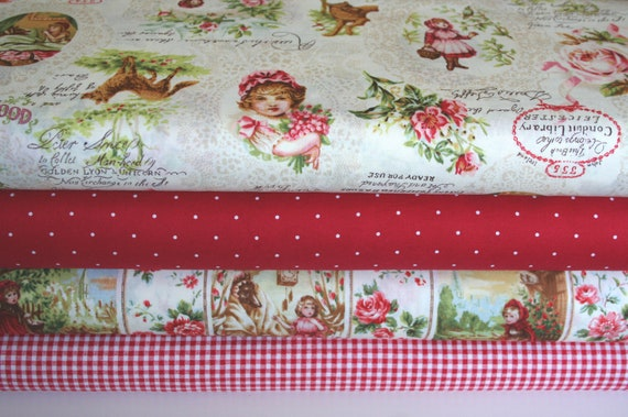 LIMITED COLLECTION, Japanese, Leicen Little Red Cap, Red Riding Hood with French Text, 1/2 Yard Bundle