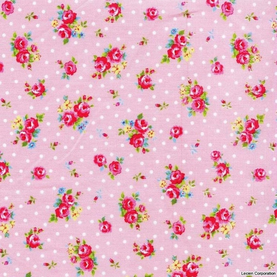 NEW Japanese, Lecien FLOWER SUGAR, Spring 2012, Mini Roses and Polka Dots in Pink, Fat Quarter