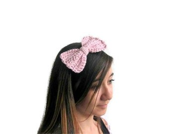 Bow Hairband, Hair Bow, Chunky Knit Bow Hairband, Pink