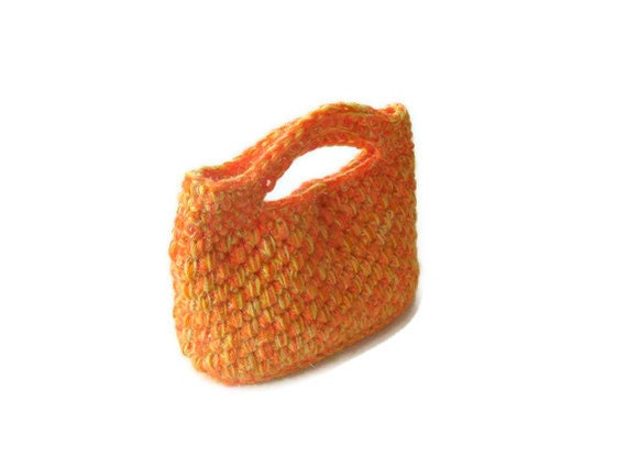 Romantic,  Crochet Bag, Clutch in Orange, Pumpkin, Woman, Handbags,  Clutch, Handbags, Trendy,