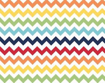 Rainbow Small Chevron Fabric by Riley Blake Designs - Half Yard - 1/2 Yard