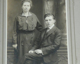 Tired Sad Wife With Husband Suit Sailor Nautical Dress Antique Photo Studio Portrait Photograph Card