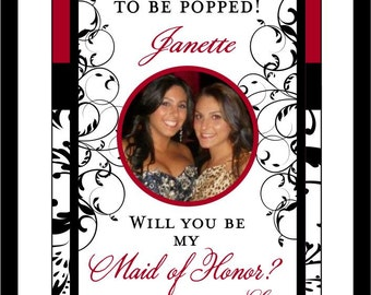 Private Listing for idokmcnj Will you be My Bridesmaid Damask Bridal Party Wine Labels - Gifts - Custom Bridesmaid Wine Labels