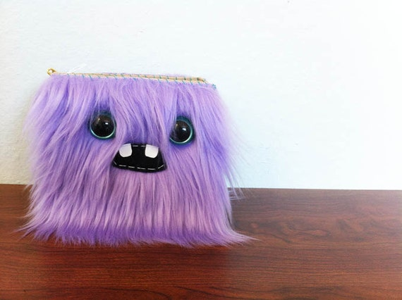 Lavender Monster Wallet- Two Turquoise Eyes