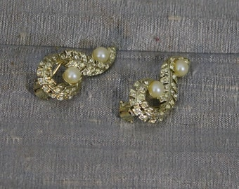 Vintage Rhinestone Willow Leaf and Faux Pearl Clip-on Earrings