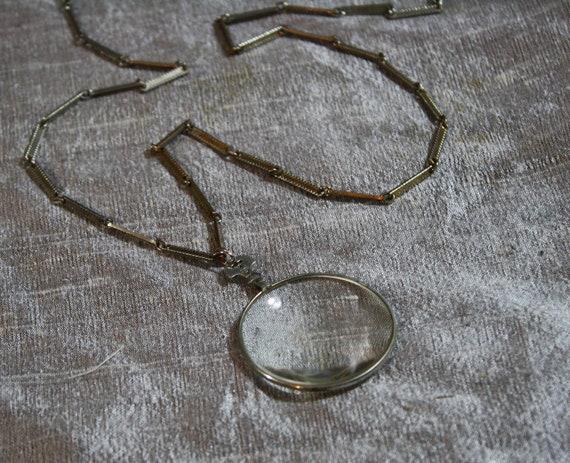 Vintage Glass Monocle Magnifying Pendant