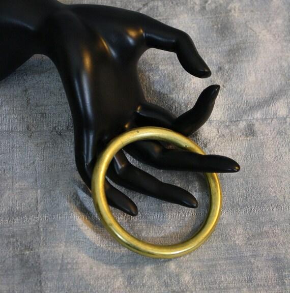 Vintage Thick Brass Bangle Bracelet