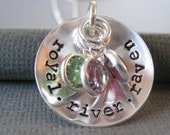 Custom Hand Stamped Jewelry - Personalized Sterling Silver Mommy Necklace - Cupped Names and Stones