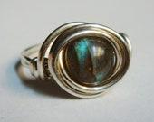 Labradorite Ring   Labradorite Gemstone Ring   Sterling Silver Ring   Labradorite Jewelry