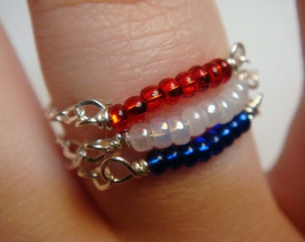 Red White and Blue Ring   Stacking Rings   Chain Ring   Fourth of July  July 4th  Silver Jewelry