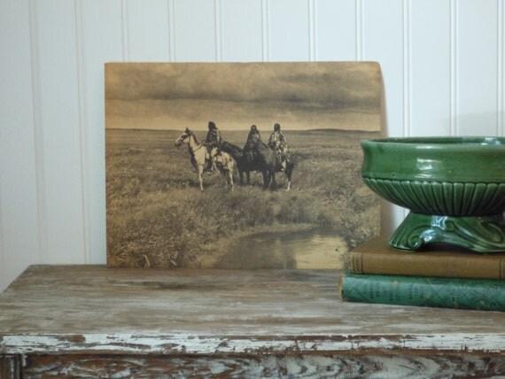 Indian vintage photograph print art sepia 9x12 edward curtis western