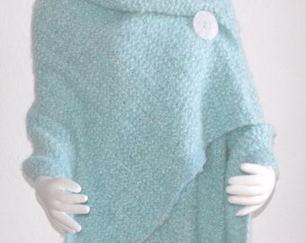 Hand Knit  Shawl, Wrap, Cape Handmade Misty Aquamarine Divinely Soft Plus Sizes Available